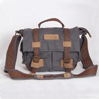 BBK-2 Canvas DSLR Camera Bag Shoulder Messenger Bag For Canon Nikon Sony--Grey