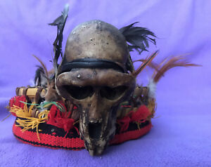 Dayak-Headhunter-Shaman-Crown-With-Feathers-amp-Skulls-Borneo