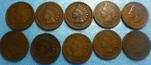 10-Coin-Indian-Head-Penny-Cent-Collection-1890-to-1899-9099