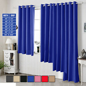 INSULATED-THERMAL-BLACKOUT-PAIR-CURTAINS-EYELET-RING-TOP-READY-MADE-FREE-TIEBACK