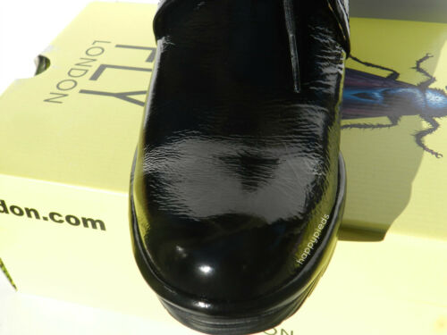 Fly London Pert Chaussures Femme 40 Bottines Cuir Verni Patent Compensé Uk7 Neuf