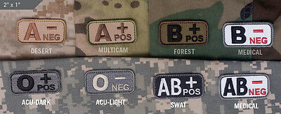 Mil Spec Monkey MSM Blood Type Patch-O, A, B, AB, Multicam-Wood-Desert-SWAT-ACU