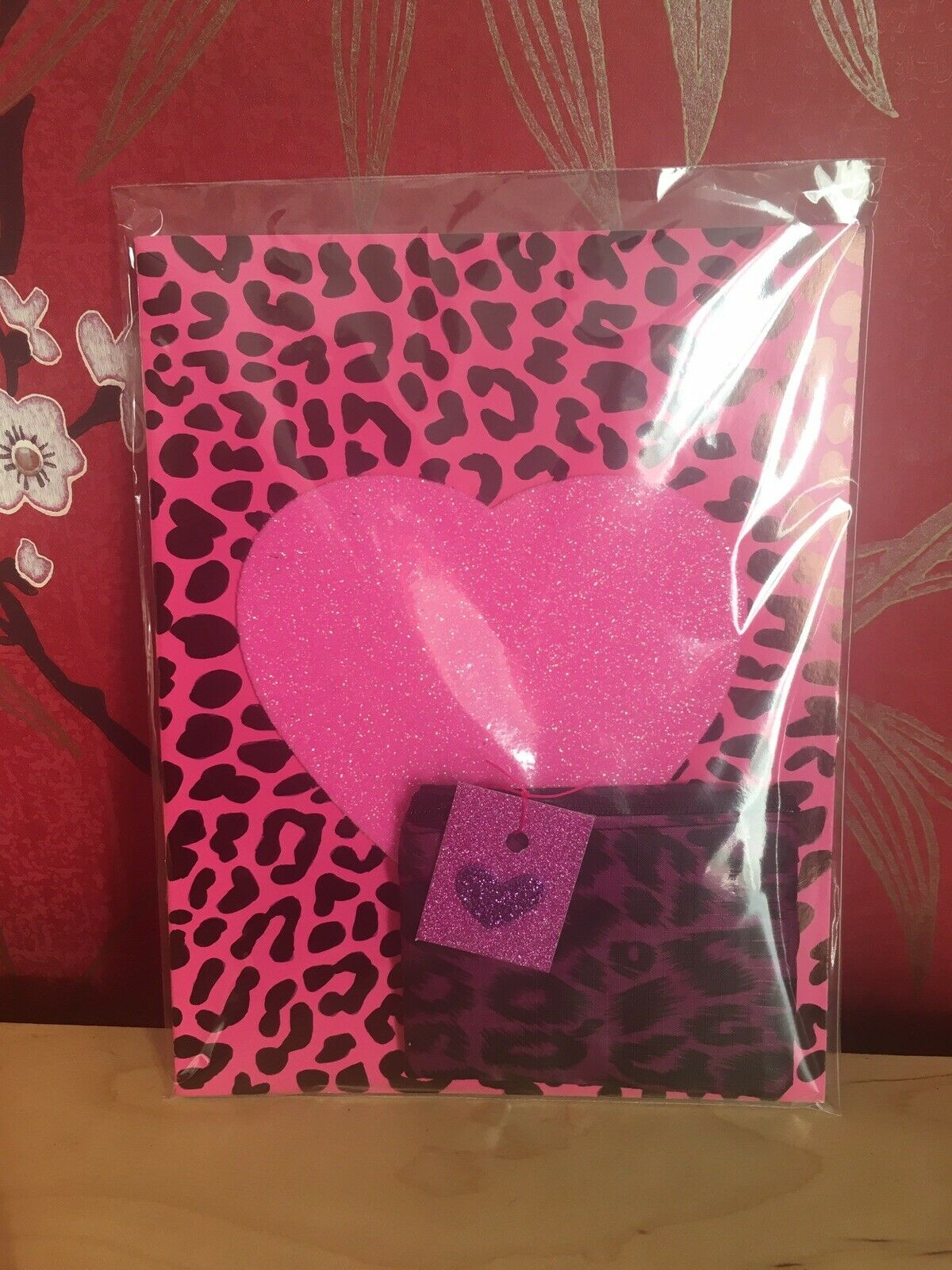 Rockabilly Leopard Print Hot Pink Glitter Heart A5 Notebook +purse 2pc Gift Set