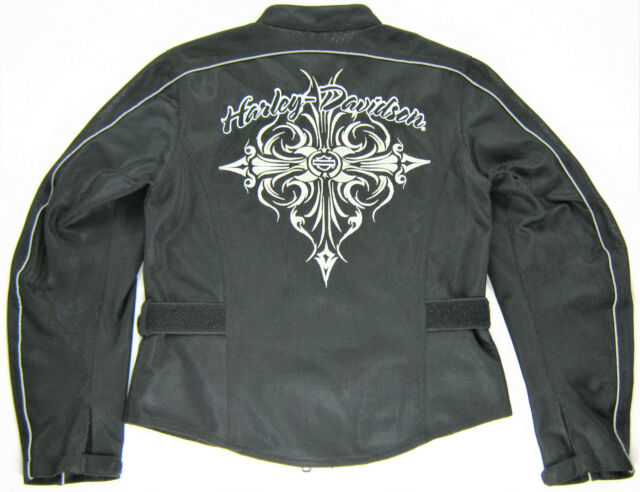 on feet shots of nice cheap classic style womens harley davidson jacket s small black polyester mesh evening ...