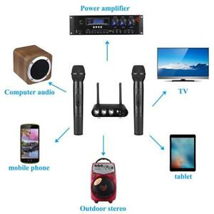 Black-UHF-Wireless-Hand-Held-Microphone-Mic-System-Karaoke-Bluetooth-w-Mixer