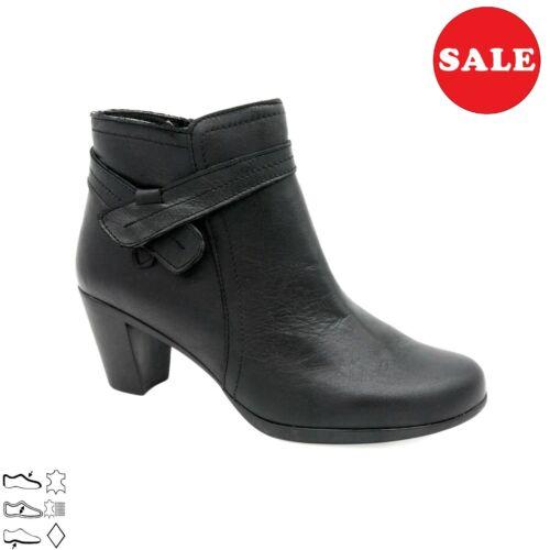 Damen Leder Stiefelette 6-cm Absatz Kurz-Stiefel Echtleder schwarz Made In Spain