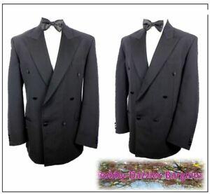 """SéRieux M&s Homme Double Boutonnage Noir Dîner Smoking Ch42""""r W34"""" L31"""" Prom Ball-afficher Le Titre D'origine En Quantité LimitéE"""