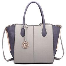 Women Designer PU Leather Patchwork Shoulder Bag Bat Wing Tote Handbag Grey
