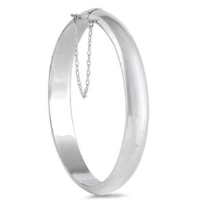 925-Sterling-Silver-Oval-Hinged-Bangle-Bracelet-w-Safety-Chain-9-x-55-x-60-mm