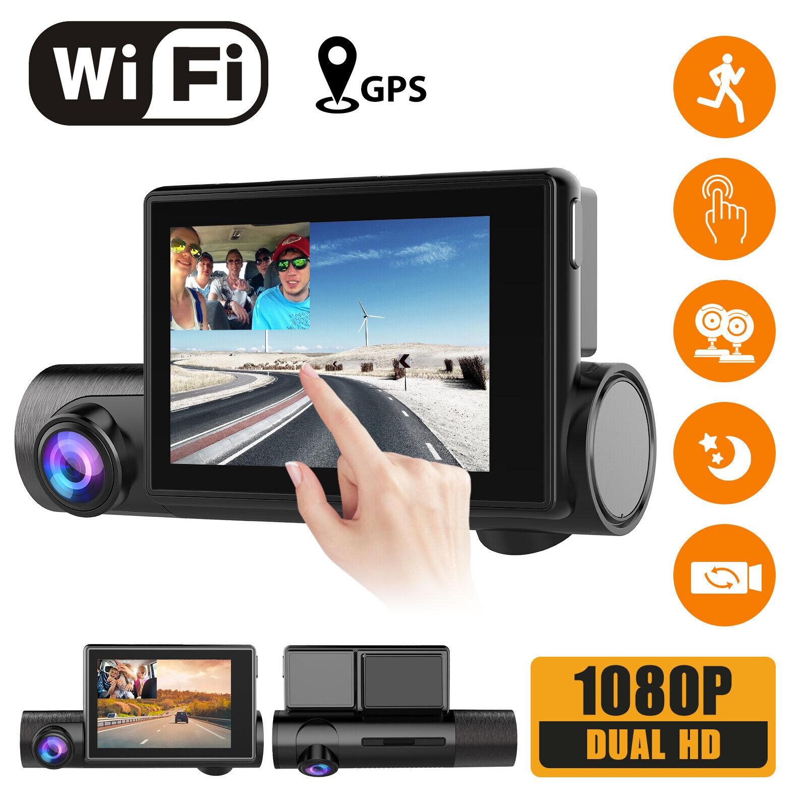 Dual 1080P WiFi Dash Cam,w/ Touch screen GPS Front & Inside Camera Night Vision 1080p camera dash dual Featured front gps inside screen touch wifi