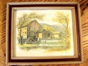 John-E-Bradley-Litho-Print-Grist-Mill-Picture-Wall-Art-10-034-x-12-034-Wood-Frame