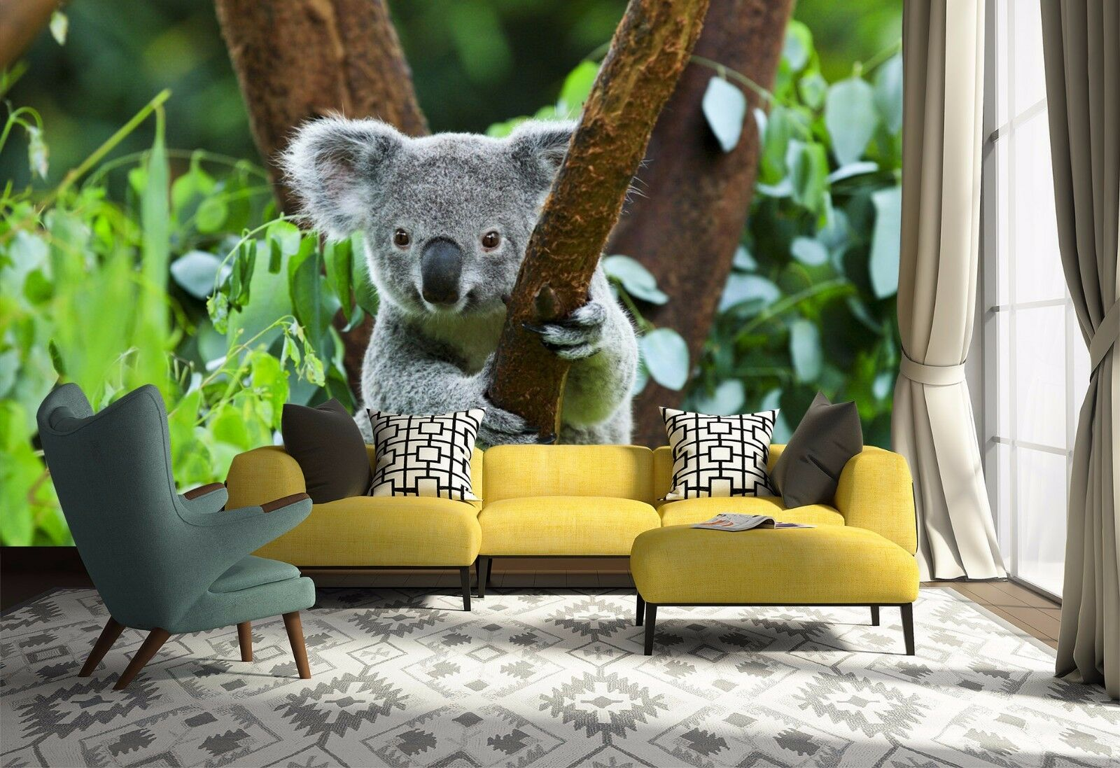3D Raccoon Tree Lawn 800 Wallpaper Mural Paper Wall Print Wallpaper Murals UK