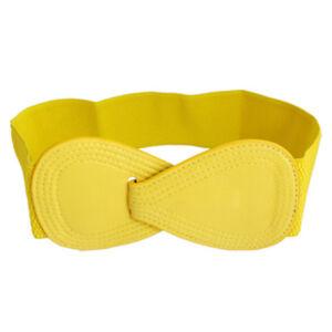 Boucle-de-verrouillage-8-Ceinture-elastique-en-faux-cuir-pour-femmes-jaune-WT