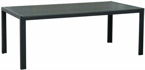 KMH® Alu-Gartentisch TUCO grau 205x90 cm Gartenmöbel Aluminium Tisch Holzoptik
