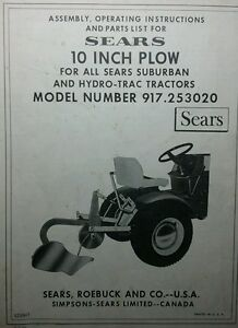 Details About Sears 10 Turnover Plow Implement Garden Tractor Owner Parts Manual 917 253020