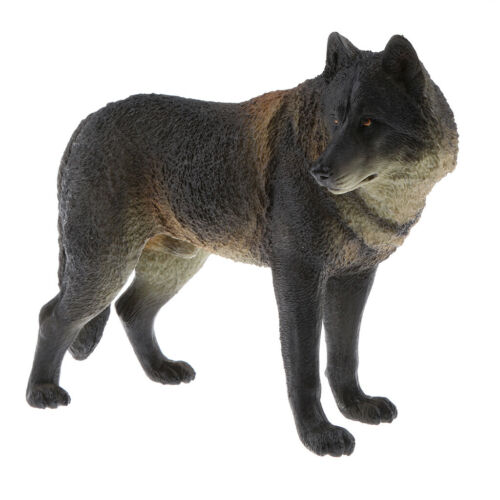 Well-crafted Plastic Black Wolf Wildlife Model Kids Toys Gift Home Decor