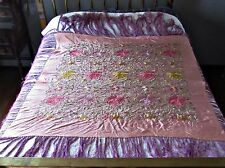 antique silk chinese canton embroidered piano shawl chrysanthemums w/fringe