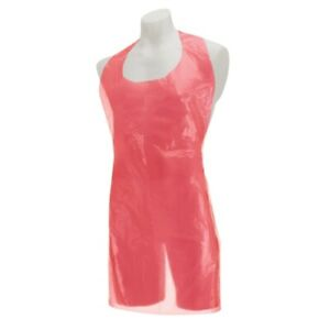 Red Disposable Clinical Polythene Plastic Apron Gowns Roll Catering Hairdressing