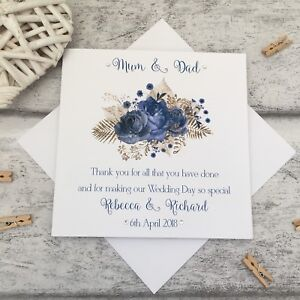 Personalised Thank You Parents Of Bride Mother Of Groom Father Of