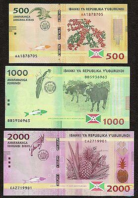 Burundi 3 Note Set: 500 to 2000 Francs - p50 2015 p51 p52 UNC