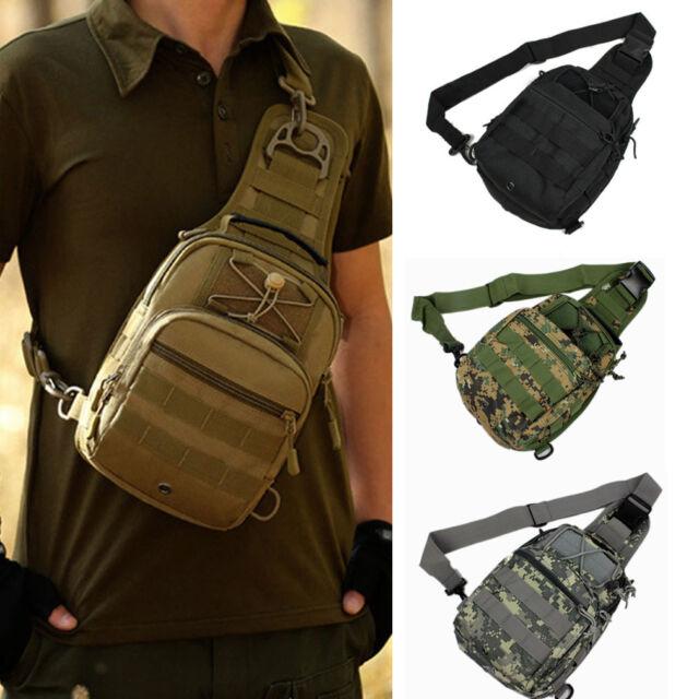 Men's Nylon Military Tactical Travel Hiking Messenger Hand Tote Sling Chest Bag