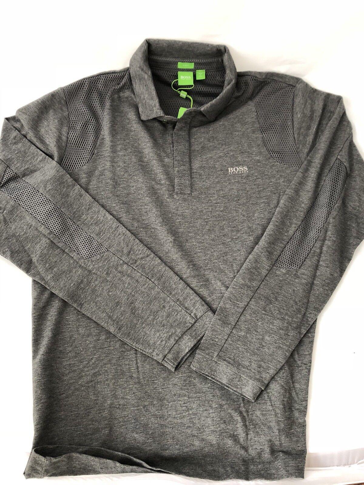NWT BOSS Hugo Boss Grün 'Pleesy 2' Long Sleeve Polo Slim Fit Shirt grau S