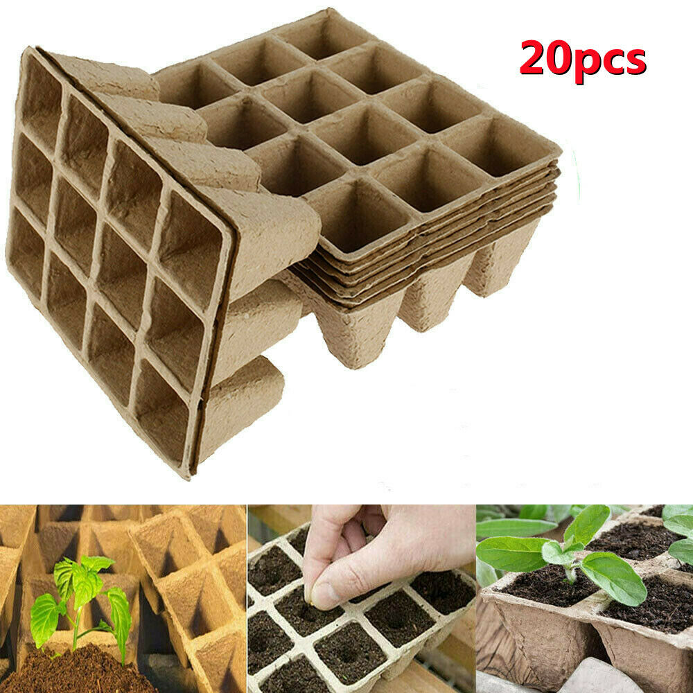 20x 12 Cell Seed Trays Set Seedling Starter Tray Plant Pots Germination Grow Cup