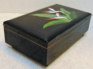 Vintage Otagiri Japan Bird Of Paradise Black Wood Music Jewelry Box