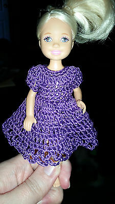 Hand crocheted Chelsea and Kelly Mattel doll clothes