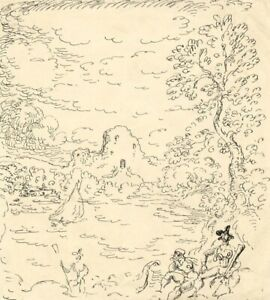 Harold Hope Read, Wooded Cove with Pirate Figures – 1920s pen & ink drawing