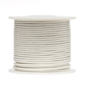 "22 AWG Gauge Stranded Hook Up Wire White 100 ft 0.0253"" UL1015 600 Volts"