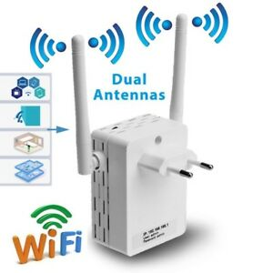 Wireless-Wifi-Repeater-300-Mbit-Mini-Router-WLAN-Verstaerker-with-Dual-Antenna-EU