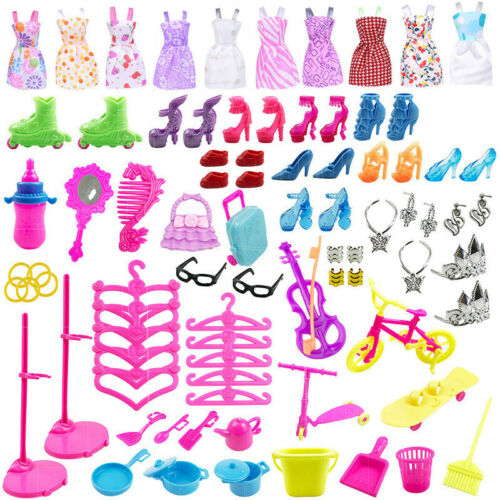 88PCS Doll Outfit Accessories Dress Jewellery Shoes Kit For Barbie Girl Gift