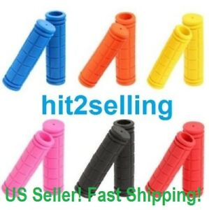 BMX-MTB-Bike-Mountain-Bicycle-Handle-Handlebar-Soft-Rubber-Bar-End-Grips-NEW