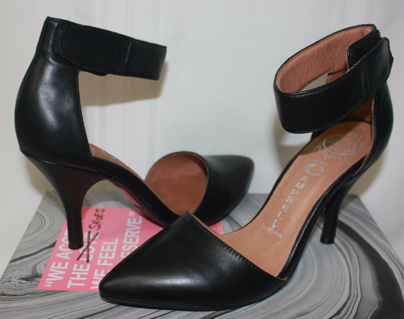 Jeffrey Campbell Solitaire NP NP NP Black leather dress heel shoes New With Box c5146b