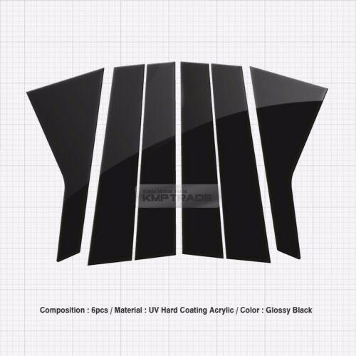 Glossy Black B C Pillar Post UV Coating Cover 6Pcs For HYUNDAI 12-16 i40 Saloon
