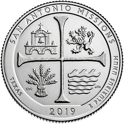 2019 W Parks Quarter ATB San Antonio Missions BU CN-Clad US Coin