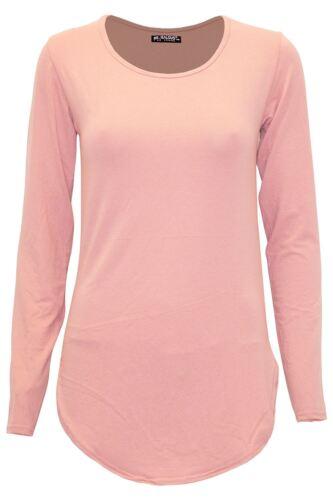 Womens V Neck Basic T Shirt Ladies Long Sleeve Stretchy Plain Jersey Top