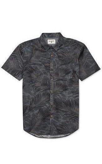 BILLABONG Men s POOLSIDER S S Button-Up Shirt - BLK - Large - NWT  ff32d7c344e