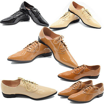 Womens Ladies Casual Lace Up Oxford Office Work Low Heel Pointed Toe Shoes size
