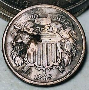 1865 Two Cent Piece 2C Fancy 5 Civil War Era Good Date US Copper Coin CC7083