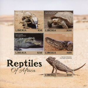 Liberia-2019-neuf-sans-charniere-Reptiles-of-Africa-5-V-M-S-serpents-lezards-Tortues-timbres