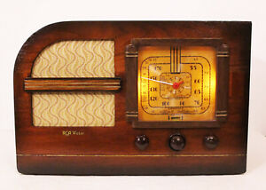 Old-Antique-Wood-RCA-Victor-Vintage-Tube-Radio-Restored-Working-Deco-Table-Top