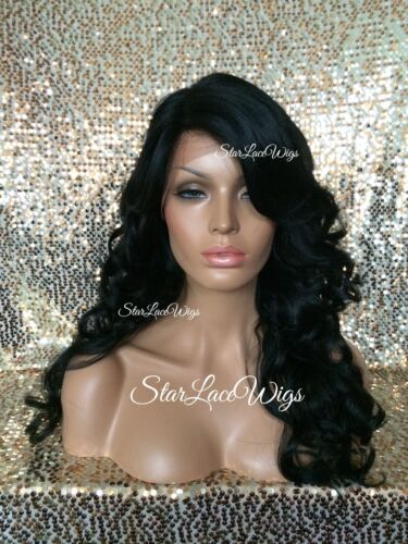 Human Hair Blend Curly Wavy Lace Front Wig Side Part Jet Black #1 Heat Safe Ok