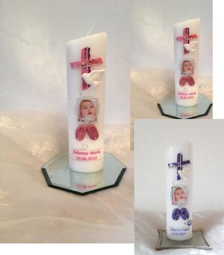 Taufgeschenk Taufkerze mit Foto Junge,Mädchen 3D Babyschuhe