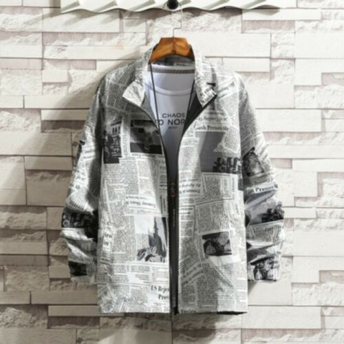 Mens Long Sleeve Floral Stand Collar Loose Zip Newspaper Jacket Coat Plus Size