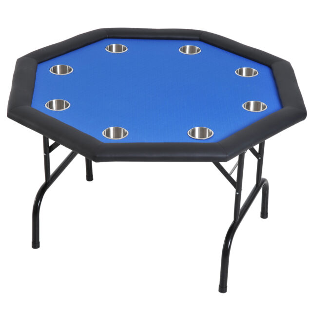Soozier 48 8 Player Octagon Poker Table With Cup Holders Folding Blue Felt For Sale Online Ebay