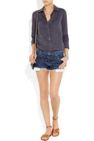 d89cad5bc6 KSUBI Brand bluee Leopard Print Low Rise Rise Rise Raw Hem Denim Shorts Size  31 BNWT SZ49 996b13