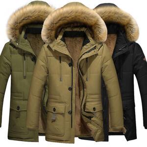 Men-039-s-Winter-Warm-Cotton-Down-Jacket-Fur-Collar-Thick-Coat-Outwear-Hooded-Parka