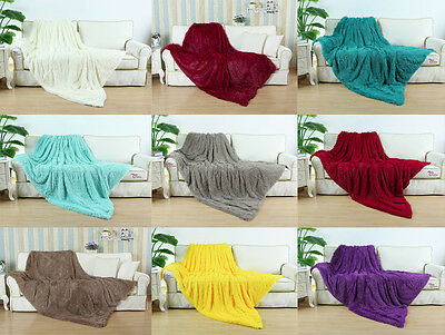 """CaliTime Ultra Fluffy Supersoft Plush Faux Fur Blanket Throw Home Single 60""""X80"""""""